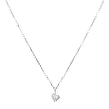 Argento Cubic Zirconia Pearl Heart Necklace  - Click to view larger image