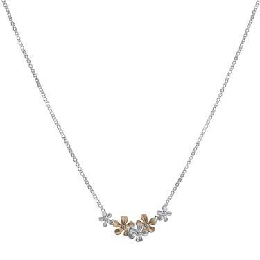 Argento Rose Gold Mix Flower Necklace