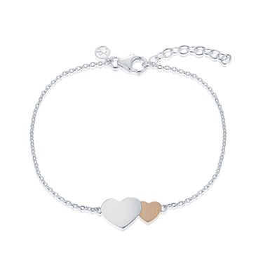 Argento Two Hearts Rose Gold and Silver Bracelet