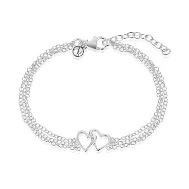 Argento Two Hearts Chains Bracelet