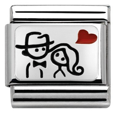 Nomination Silvershine Couple Heart Charm  - Click to view larger image