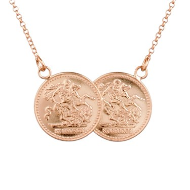 Argento Two Coin Rose Gold Necklace  - Click to view larger image