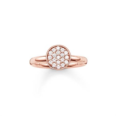 Thomas Sabo Rose Gold Simple Sparkling Circle Ring  - Click to view larger image