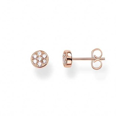 Thomas Sabo Rose Gold Sparkling Circles Stud Earrings  - Click to view larger image