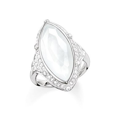 Thomas Sabo Milky Quartz Silver Oval Ring  - Click to view larger image