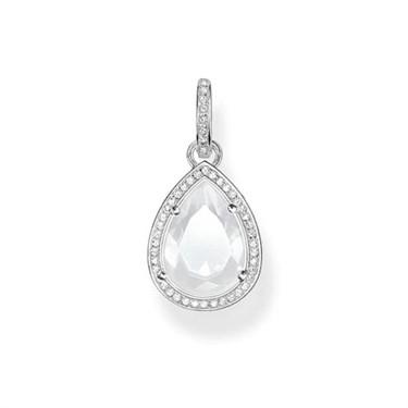 Thomas Sabo Milky Quartz Silver Drop Pendant  - Click to view larger image