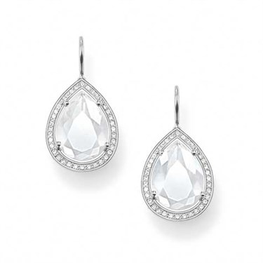 Thomas Sabo Milky Quartz Silver Drop Earrings   - Click to view larger image