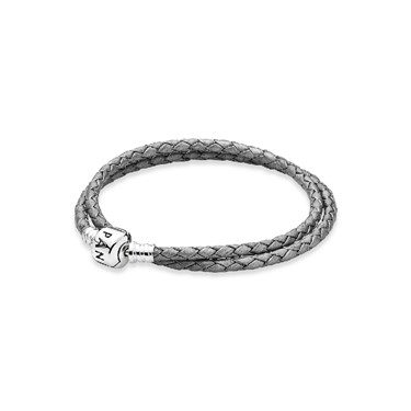 PANDORA Silver double leather bracelet