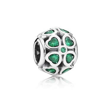 Pandora Dark Green Clover Charm  - Click to view larger image
