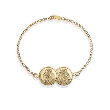 Argento Gold St. Christopher Two Coin Bracelet