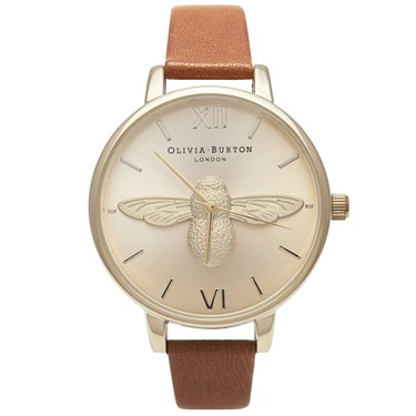 Olivia Burton Moulded Bee Tan & Gold Watch  - Click to view larger image