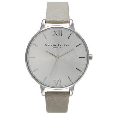 Olivia Burton Big Dial Grey and Silver Watch  - Click to view larger image