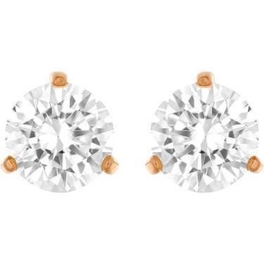 Swarovski Rose Gold Solitaire Crystal Earrings  - Click to view larger image