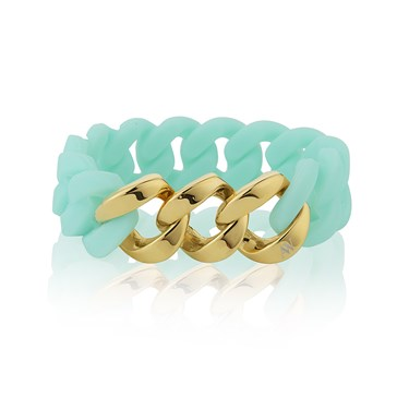 August Woods Gold Turquoise Link Bracelet