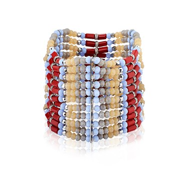 August Woods Red & Peach Bead Bracelet