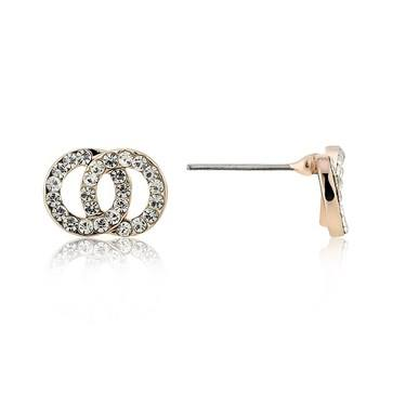 August Woods Rose Gold CZ Double Link Stud Earrings  - Click to view larger image