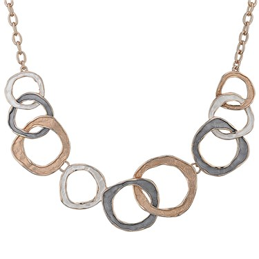 August Woods Rose Gold Trio Overlap Circle Necklace