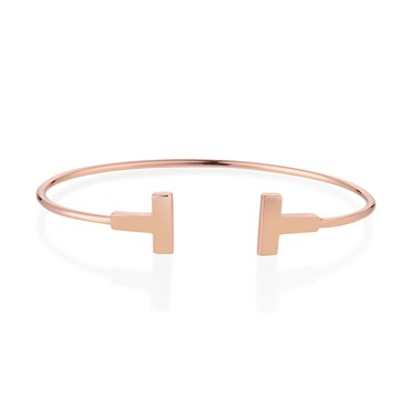 Dirty Ruby Rose Gold T-Bar Bangle