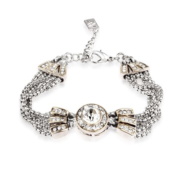 August Woods Society Crystal Pendant Chain Bracelet