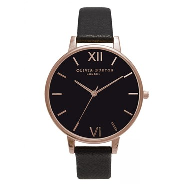 Olivia Burton Black Dial & Rose Gold Watch  - Click to view larger image