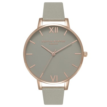 Olivia Burton Big Dial Grey Dial & Rose Gold Watch  - Click to view larger image