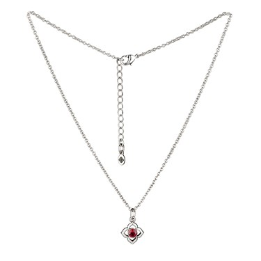 Karma Silver Ruby July Birthstone Necklace