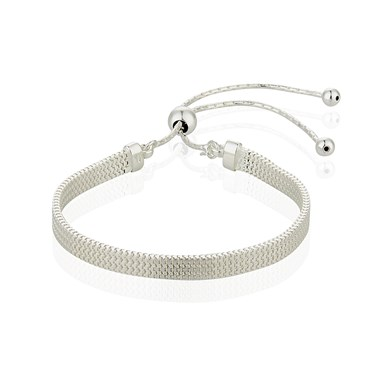 Argento Silver plated Snake Chain Pull Friendship Bracelet  - Click to view larger image