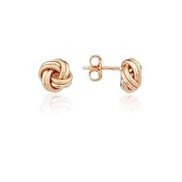 Argento Rose Gold Knot Stud Earrings  - Click to view larger image