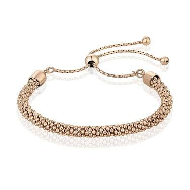 Argento Popcorn Pull Friendship Bracelet Rose Gold  - Click to view larger image