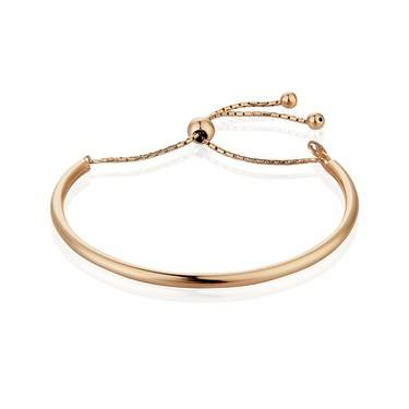 Argento Rhodium Plated Pull Friendship Bangle Rose Gold  - Click to view larger image