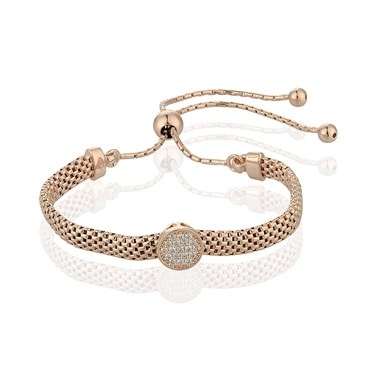Argento Rose Gold plated Mesh Pave Pull Bracelet  - Click to view larger image