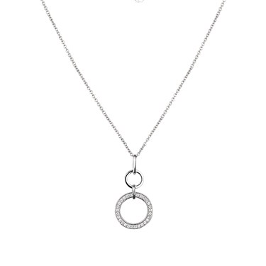 Argento Cubic Zirconia Hoop Necklace