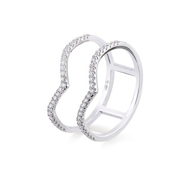 Argento Double Band Spikes Pave Ring