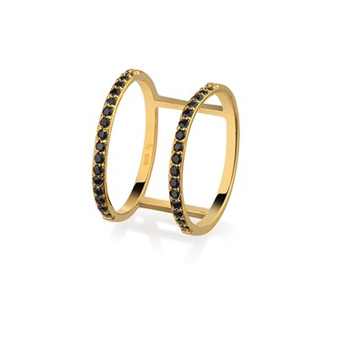 Argento Gold Double Band Black CZ Ring