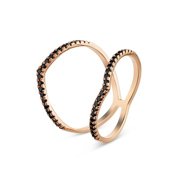 Argento Rose Gold Double Band Black Spikes Ring