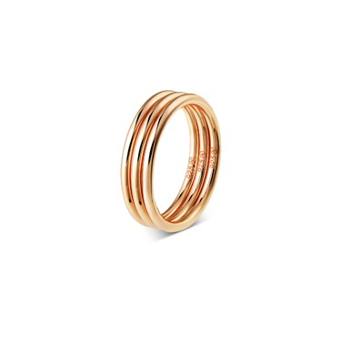 Argento Rose Gold Triple Band Stacked Ring