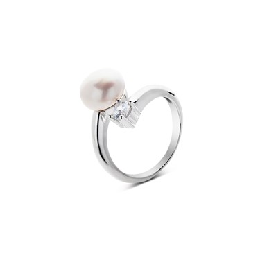 Argento Open Pearl and Crystal Ring