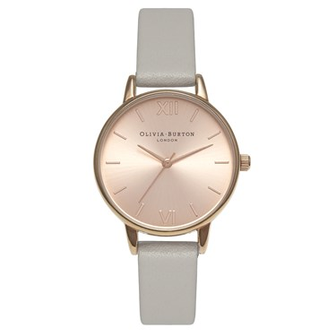 Olivia Burton Midi Dial Grey and Rose Gold Watch  - Click to view larger image