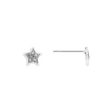 Storie Silver CZ Star Stud Earrings  - Click to view larger image