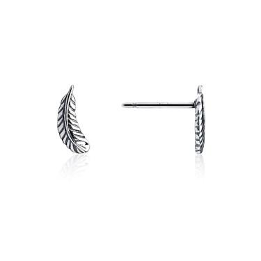 Storie Silver Feather Stud Earrings  - Click to view larger image