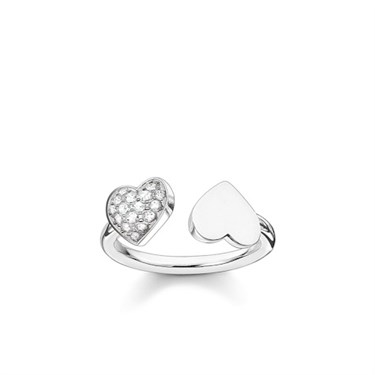 Thomas Sabo Silver Cubic Zirconia Hearts Ring  - Click to view larger image
