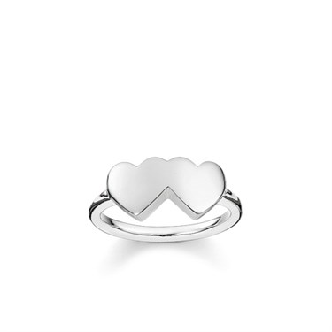 Thomas Sabo Silver Double Heart Ring  - Click to view larger image