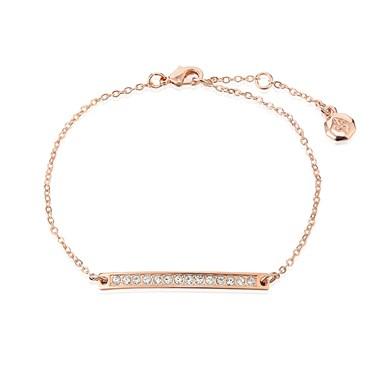 Dirty Ruby Rose Gold Crystal Bar Bracelet