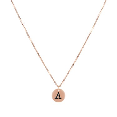 Dirty Ruby Rose Gold Letter A Necklace
