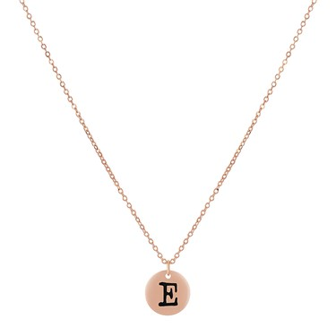 Dirty Ruby Rose Gold Letter E Necklace
