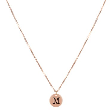 Dirty Ruby Rose Gold Letter M Necklace