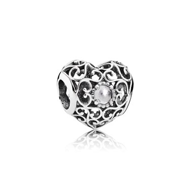 Pandora April Signature Heart Birthstone Charm  - Click to view larger image