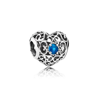 Pandora December Signature Heart Birthstone Charm  - Click to view larger image