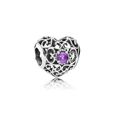 PANDORA February Signature Heart Birthstone Charm  - Click to view larger image