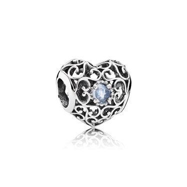 Pandora March Signature Heart Birthstone Charm  - Click to view larger image